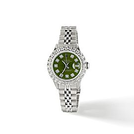 Rolex Datejust Steel 26mm Jubilee Watch 2CT Diamond Bezel / Royal Green Dial