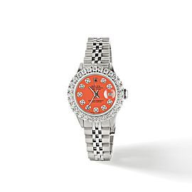 Rolex Datejust Steel 26mm Jubilee Watch 2CT Diamond Bezel / Orange Diamond Dial