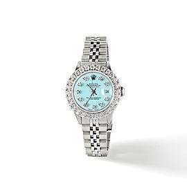 Rolex Datejust Steel 26mm Jubilee Watch 2CT Diamond Bezel / Aqua Blue Dial