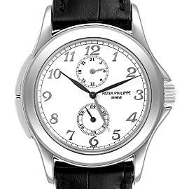 Patek Philippe Calatrava Travel Time White Gold Mens Watch 5134
