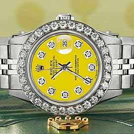 Rolex Datejust Steel 26mm Jubilee Watch Yellow 1.3CT Diamond Bezel & Dial