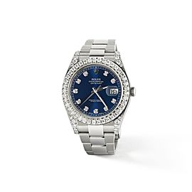 Rolex Datejust II Steel 41mm Watch 4.5CT Diamond Bezel/Lugs/Royal Blue Dial