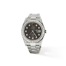 Rolex Datejust II Steel 41mm Watch 4.5CT Diamond Bezel/Lugs/Rhodium Dial