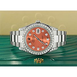 Rolex Datejust II Steel 41mm Watch 4.5CT Diamond Bezel/Lugs/Royal Salmon Dial
