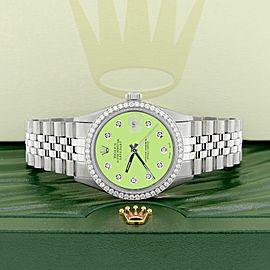 Rolex Datejust Steel 36mm Jubilee Watch 1.1CT Diamond Bezel & Green Apple Dial