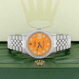 Rolex Datejust Steel 36mm Jubilee Watch 1.1CT Diamond Bezel/Orange Diamond Dial