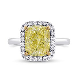 Leibish 14K Yellow and White Gold with 2.62ctw Diamond Halo Ring Size 3.75
