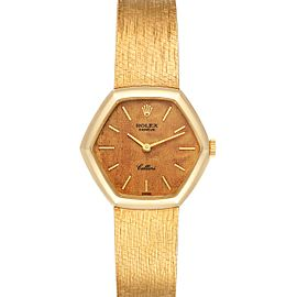 Rolex Cellini 18k Yellow Gold Wooden Dial Vintage Cocktail Ladies Watch 4303