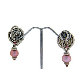 Judith Ripka pink pearl dangle earrings in sterling silver.