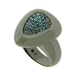 Roberto Coin Capri Plus Sterling SIlver Ruthenium Plate Blue Topaz Ring Size 6.5