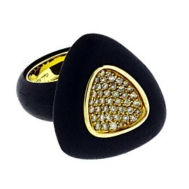 Roberto Coin Capri Plus Ebony Wood & Diamond Women's Ring in silver Size 6.5