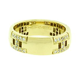 Hermès H diamond ring in 18k yellow gold in good condition size 4.5