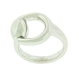Gucci Horsebit ring in 18k white gold new in Gucci box USA Size 5.5