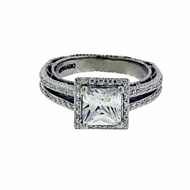 Verragio 18k gold halo diamond engagement ring fits 1ct princess cut
