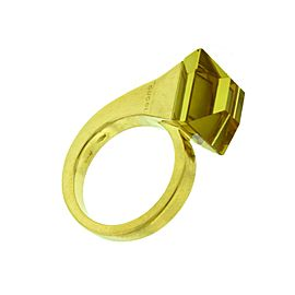 Gucci cocktail Chiodo lemon quartz ring in 18k yellow gold size 6.5