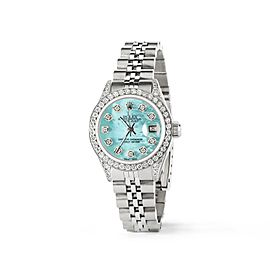 Rolex Datejust 26mm Steel Jubilee Diamond Watch w/Aquamarine Blue MOP Dial