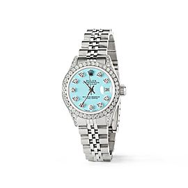 Rolex Datejust 26mm Steel Jubilee Diamond Watch w/Aqua Blue Dial