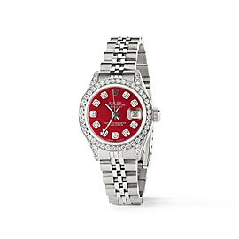 Rolex Datejust 26mm Steel Jubilee Diamond Watch w/Candy Red MOP Dial