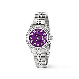 Rolex Datejust 26mm Steel Jubilee Diamond Watch w/Dark Purple Dial