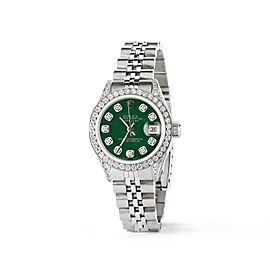 Rolex Datejust 26mm Steel Jubilee Diamond Watch w/Forest Green MOP Dial