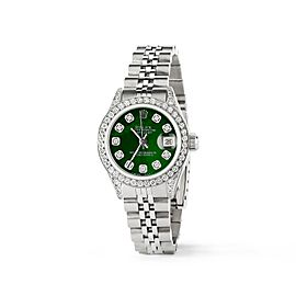 Rolex Datejust 26mm Steel Jubilee Diamond Watch w/Royal Green MOP Dial