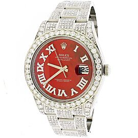 Rolex Datejust II 41mm Steel Ruby Red MOP Dial 11CT Diamond Box Papers