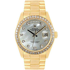 Rolex Day-Date 36mm 18238 Men's White MOP Yellow Gold 36mm 1 Year Warranty
