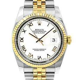 Rolex Datejust 36mm 116233 Unisex White Roman Yellow Gold 36mm 1 Year Warranty