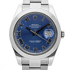 Rolex Datejust II 116300 Men's Blue Roman Stainless Steel 41mm 1 Year Warranty