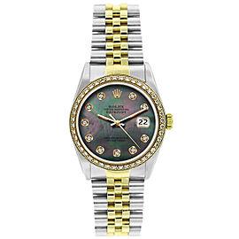 Rolex Datejust 16233 Unisex Black MOP Diamond Yellow Gold 36mm 1 Year Warranty