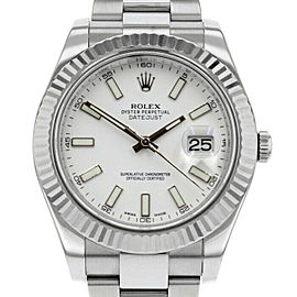 Rolex Datejust II 116334 Men's White Index White Gold 41mm 1 Year Warranty