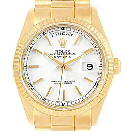 Rolex Day-Date 36mm 18238 Men's White Index Yellow Gold 36mm 1 Year Warranty