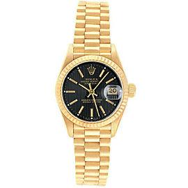 Rolex Datejust 69178 Women's Black Tapistry Index Gold 26mm 1 Year Warranty