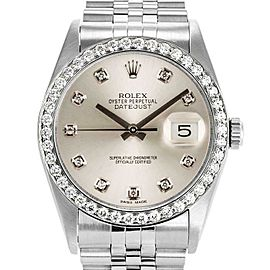 Rolex Datejust 36mm 16234 Unisex Silver Diamond White Gold 36mm 1 Year Warranty