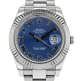 Rolex Datejust II 116334 Men's Blue Roman White Gold 41mm 1 Year Warranty