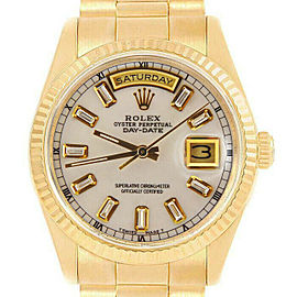Rolex Day-Date18238 Men's White MOP Baguette Diamond Gold 36mm 1 Year Warranty
