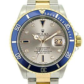 Rolex Submariner 16613 Men's Slate Serti Diamond Gold 40mm 1 Year Warranty