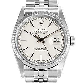 Rolex Datejust 36mm 16234 Unisex White Index White Gold 36mm 1 Year Warranty