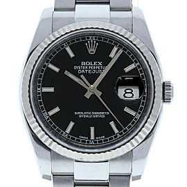 Rolex Datejust 36mm 116234 Unisex Black Index White Gold 36mm 1 Year Warranty