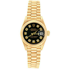 Rolex Datejust 26mm 69178 Women's Black Diamond Yellow Gold 26mm 1 Year Warranty