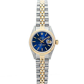 Rolex Datejust 26mm 69173 Women's Blue Index Yellow Gold 26mm 1 Year Warranty