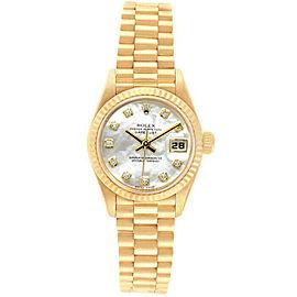 Rolex Datejust 69178 Women's White MOP Diamond Yellow Gold 26mm 1 Year Warranty