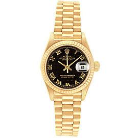 Rolex Datejust 26mm 69178 Women's Black Roman Yellow Gold 26mm 1 Year Warranty
