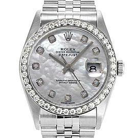 Rolex Datejust 16234 Unisex White MOP Diamond White Gold 36mm 1 Year Warranty