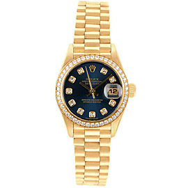 Rolex Datejust 26mm 69178 Women's Blue Diamond Yellow Gold 26mm 1 Year Warranty