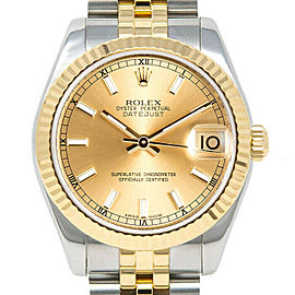 Rolex Datejust178273 Women's Champagne Index Yellow Gold 31mm 1 Year Warranty