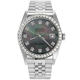 Rolex Datejust 16234 Unisex Black MOP Diamond White Gold 36mm 1 Year Warranty