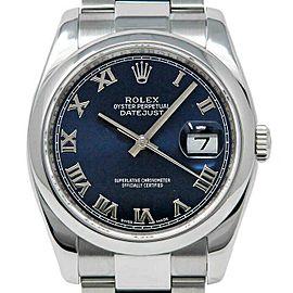 Rolex Datejust 36mm 116200 Unisex Blue Roman Steel 36mm 1 Year Warranty