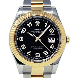 Rolex Datejust II 116333 Men's Black Arabic Yellow Gold 41mm 1 Year Warranty