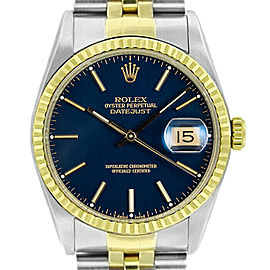 Rolex Datejust 36mm 16233 Unisex Blue Index Yellow Gold 36mm 1 Year Warranty